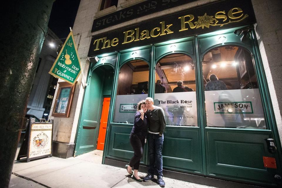 Kate Kim and Peter Lynch outside The Black Rose on a recent March evening.
